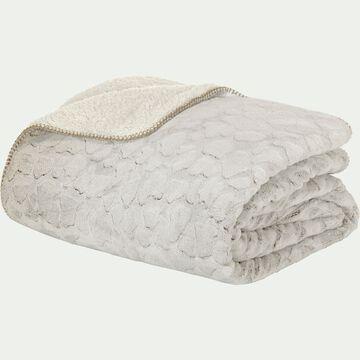 Jeté de lit réversible imitation fourrure en polyester - beige 220x250cm-Sofy