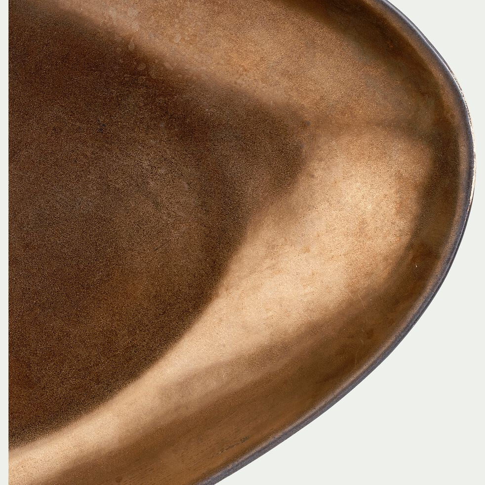 Plat de présentation ovale en grès bronze 37,5cm-OLYMPE