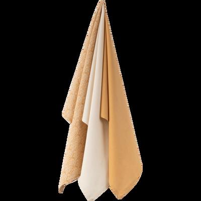 Lot de 3 torchons en coton beige-AMANDE