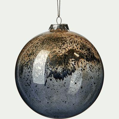 Boule de Noël en verre noir D12cm-RIQUET