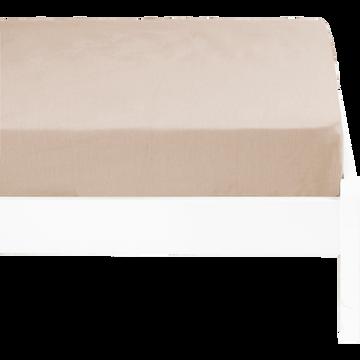 Drap housse lin lavé 90x140 cm beige roucas-VENCE