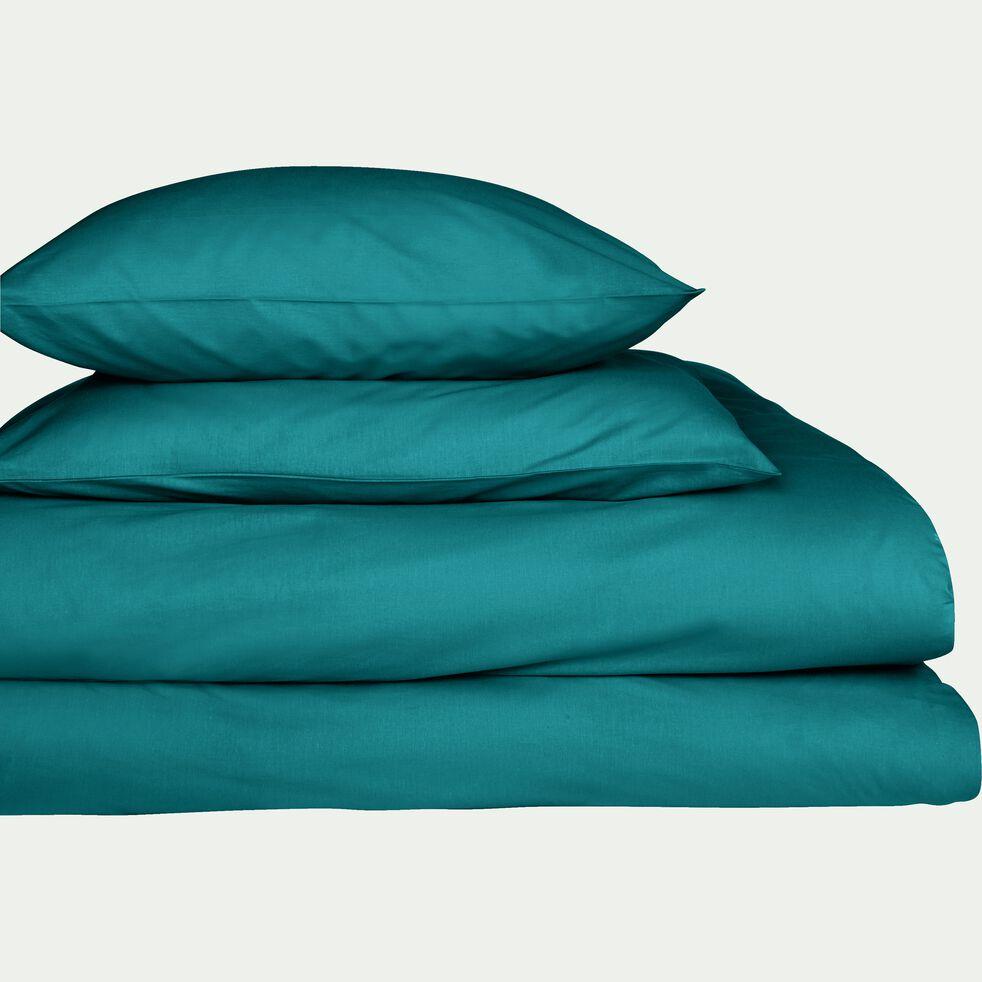 Drap housse en coton bleu niolon 160x200cm bonnet 25cm Drap housse 160x200 grand bonnet 35 cm
