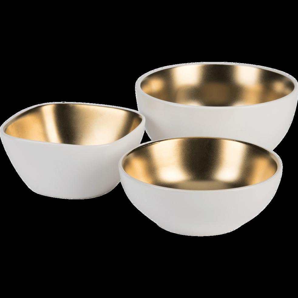 Coupelle en porcelaine blanche et dorée 9,5x9,5cm-GABRIEL