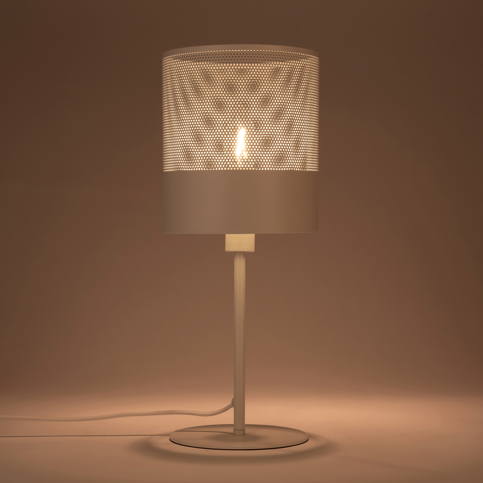 Lampe en métal blanc H40cm-CLOTILDE