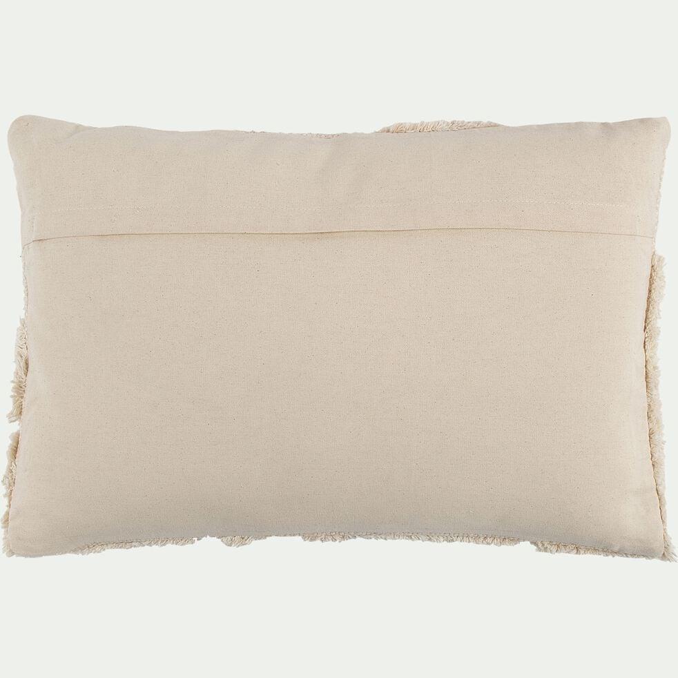 Coussin effet laineux en coton - beige 40x60cm-MELLIA
