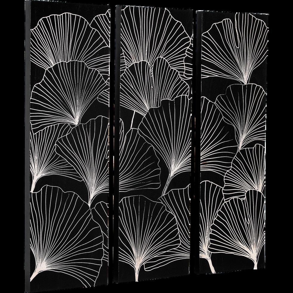Tableau triptyque noir à motifs dorés 100x100cm-Ginko