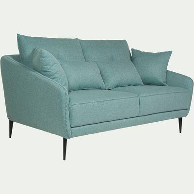 Canapé 2 places fixe en tissu vert d'eau-DOME