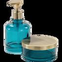 Pot à coton en verre bleu-AZALEE