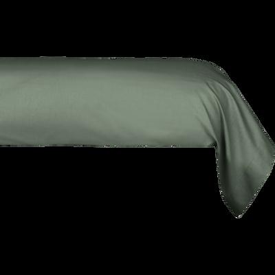 Taie de traversin en percale de coton vert cèdre 43x190 cm-FLORE