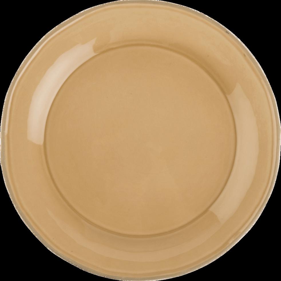 Assiette plate en faïence pêche D27cm-LUBERON