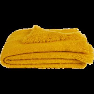 Plaid effet mohair jaune 130x170cm-VALENTINE