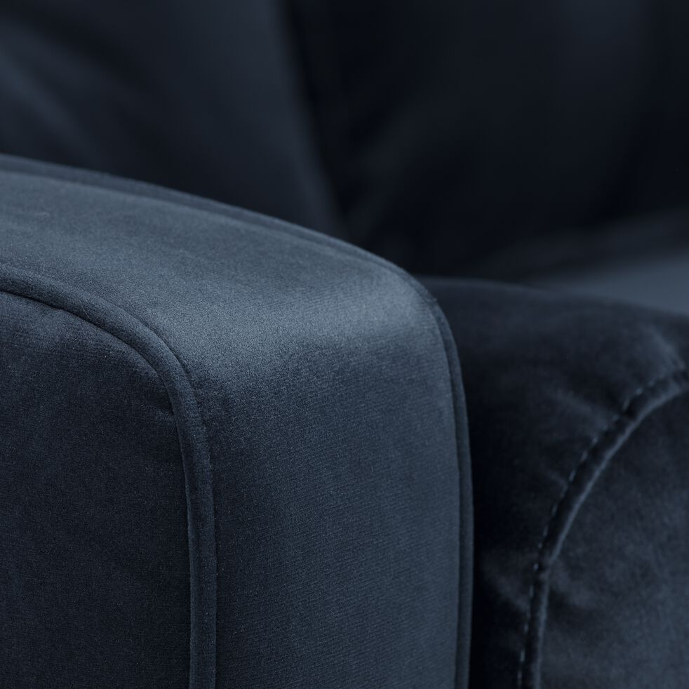 Canapé 3 places fixe en velours - bleu myrte-ROMEO