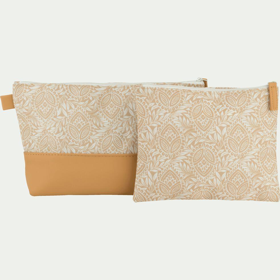 Trousse de toilette en polycoton motif Amande - beige 15x20cm-MAYAN
