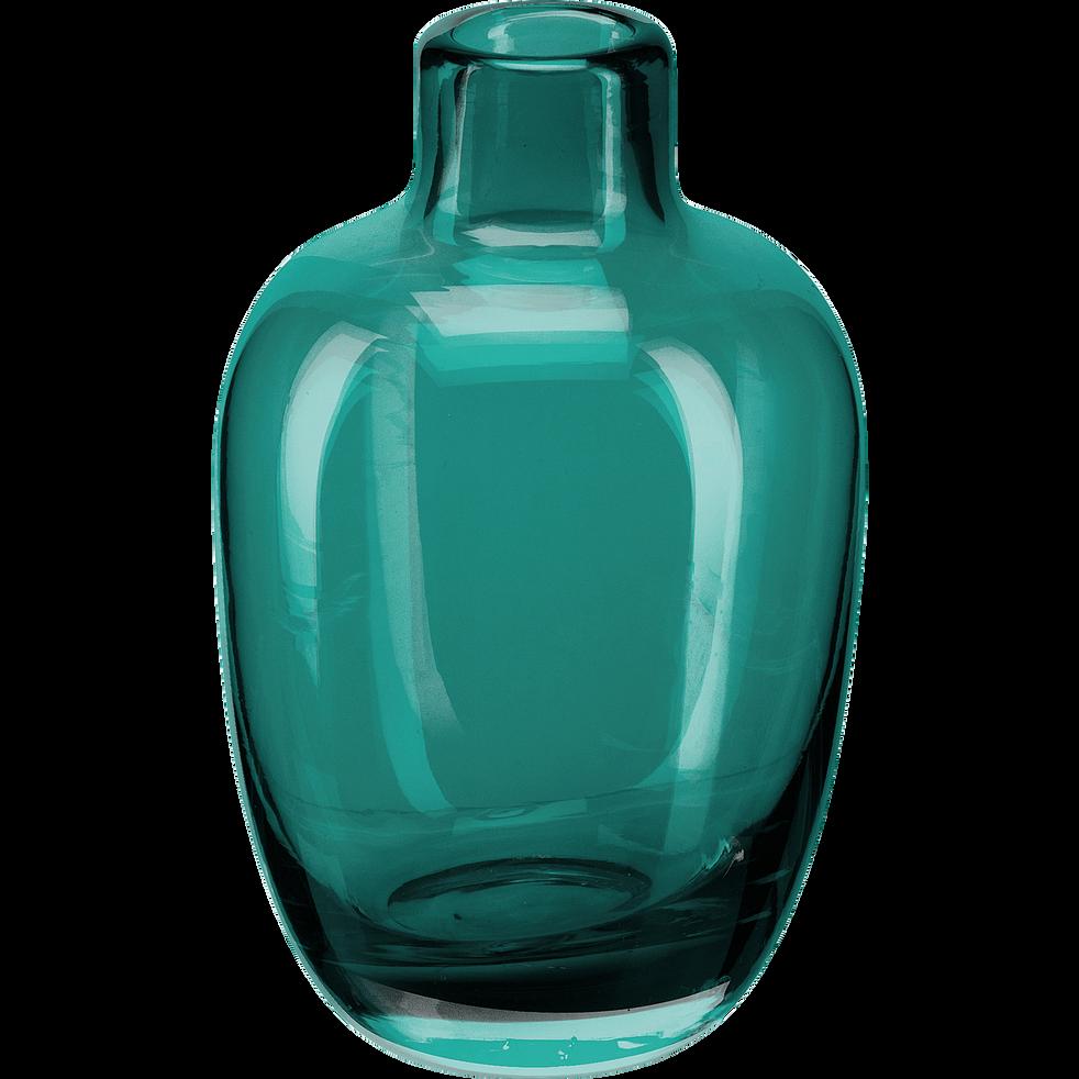 Vase en verre bleu H10cm-TAPHOS