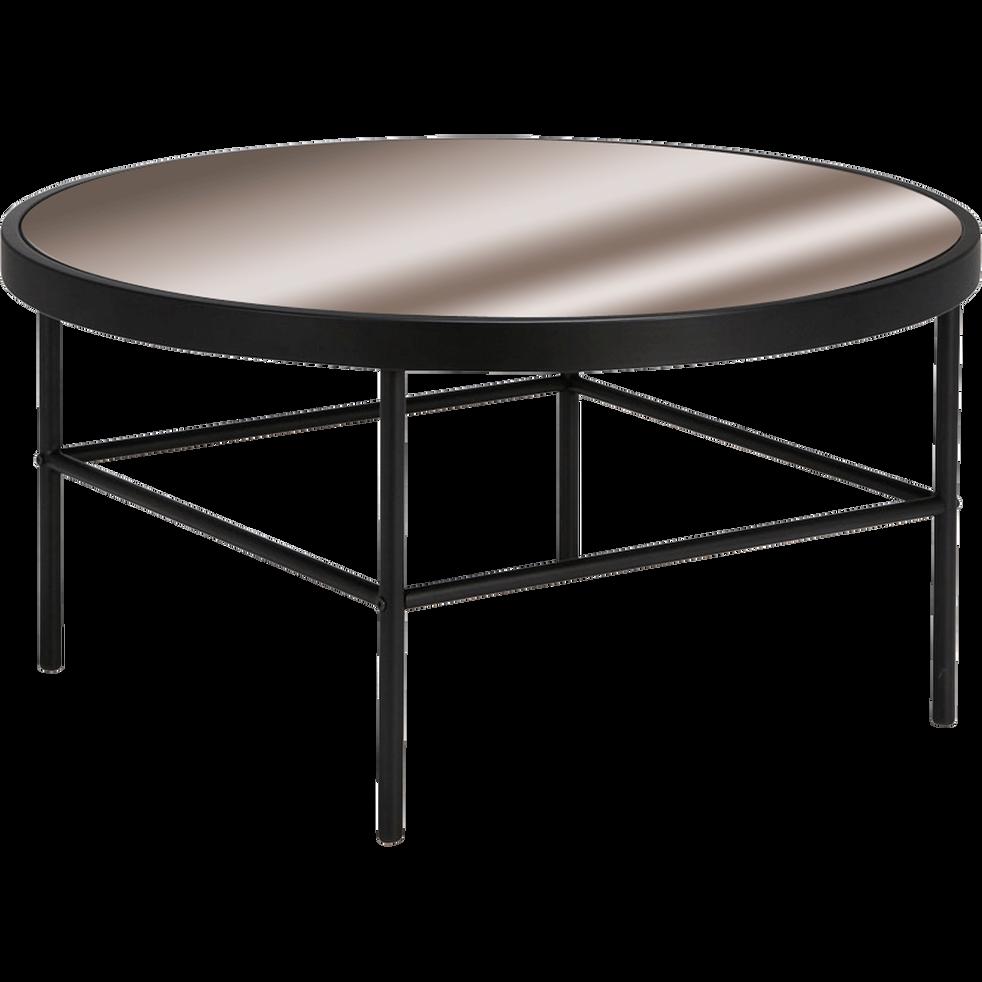 Table basse en m tal noir avec plateau miroir mira Table basse metal noir