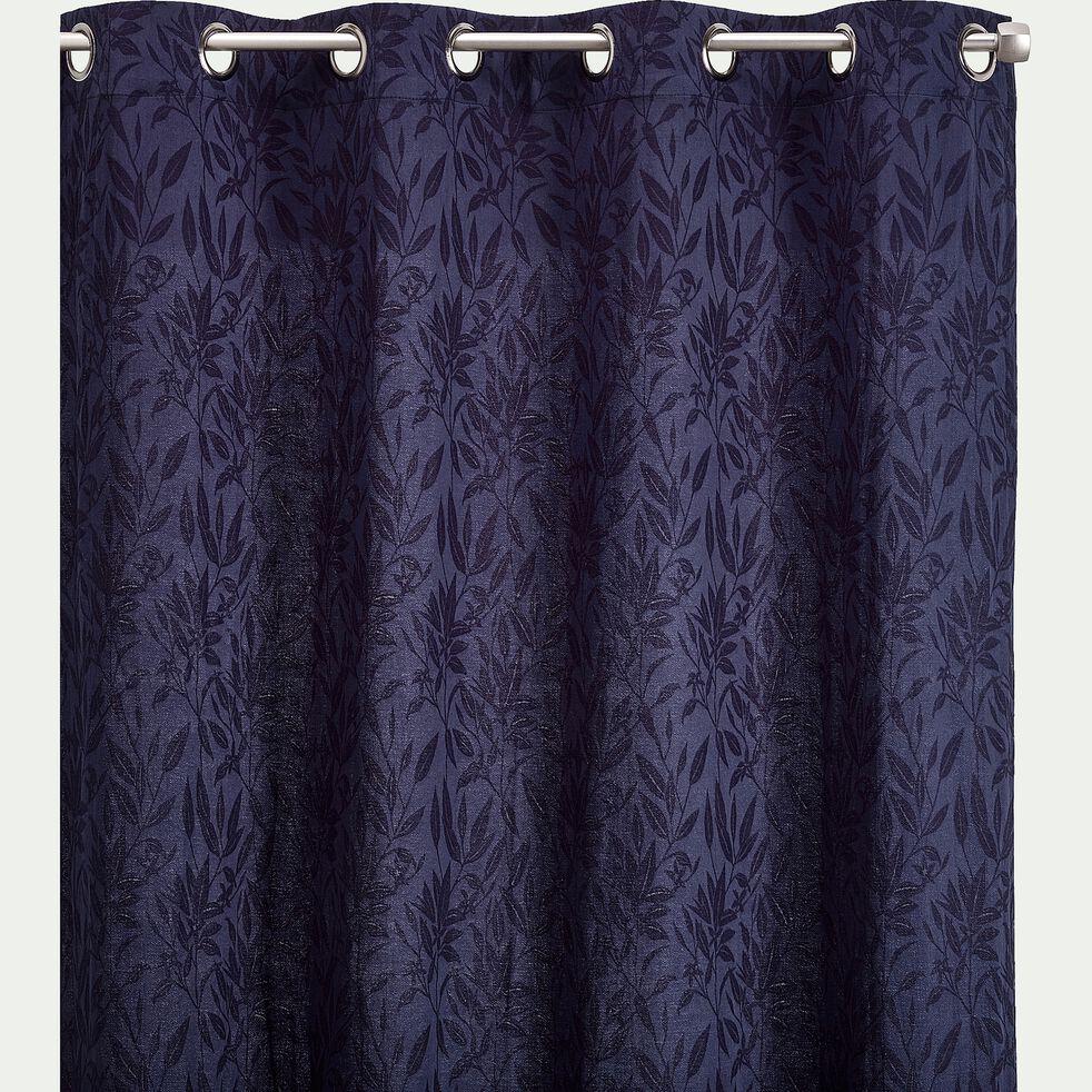 Rideau à œillets en lin, coton et viscose motif Fleur d'oranger - bleu calabrun 130x250cm-ORANGER