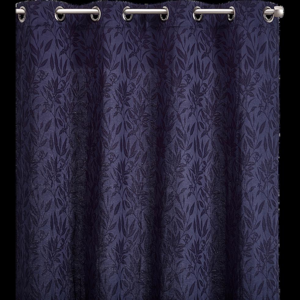Rideau à motif brodé bleu calabrun 130x250cm-ORANGER