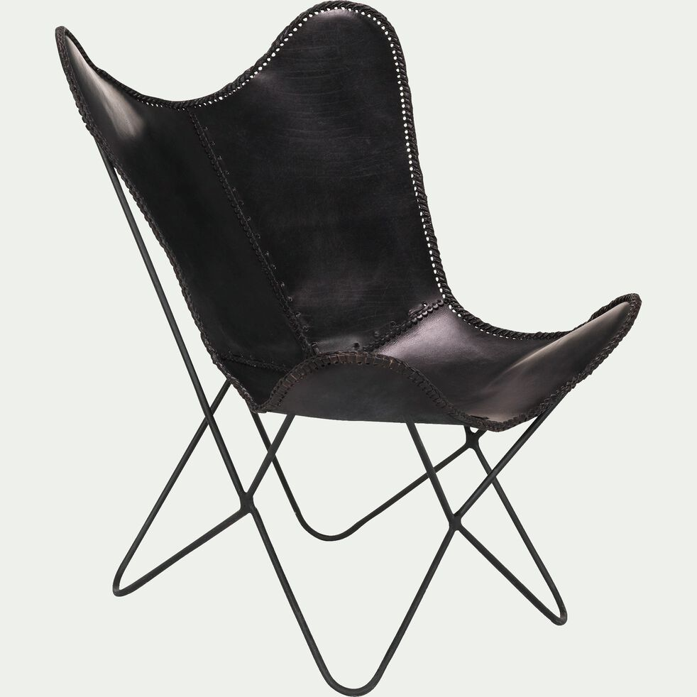 Housse de fauteuil butterfly en cuir noir - structure non incluse-BUTTERFLY