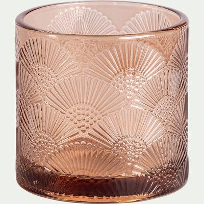 Photophore en verre gravé - brun D7cm-NOUR