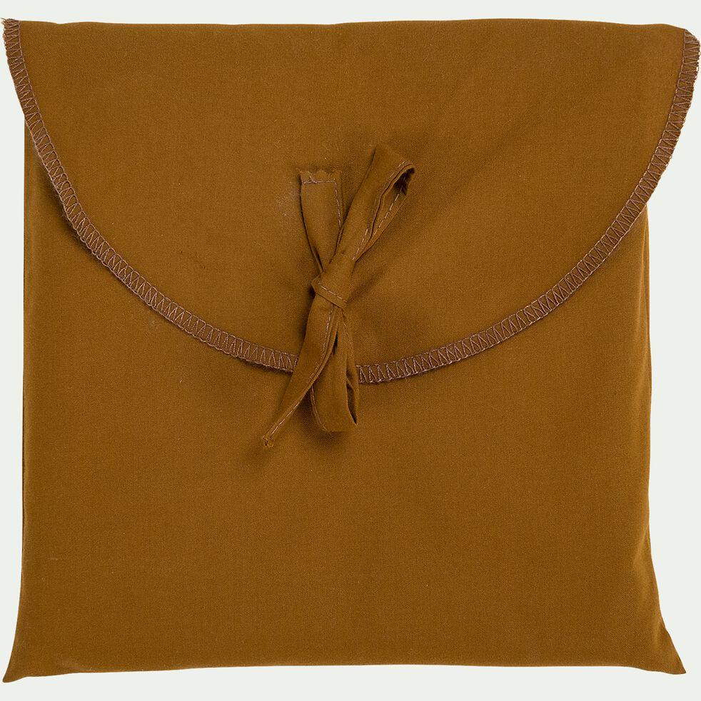 Lot de 2 taies d'oreiller en percale de coton - jaune alep 50x70cm-FLORE