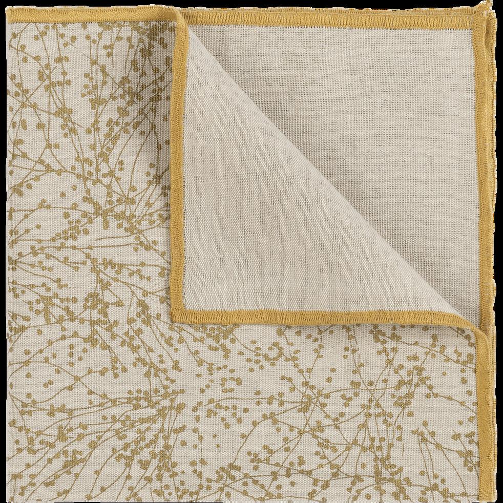 Serviette de table en lin et coton blanc 41x41cm-GINKO