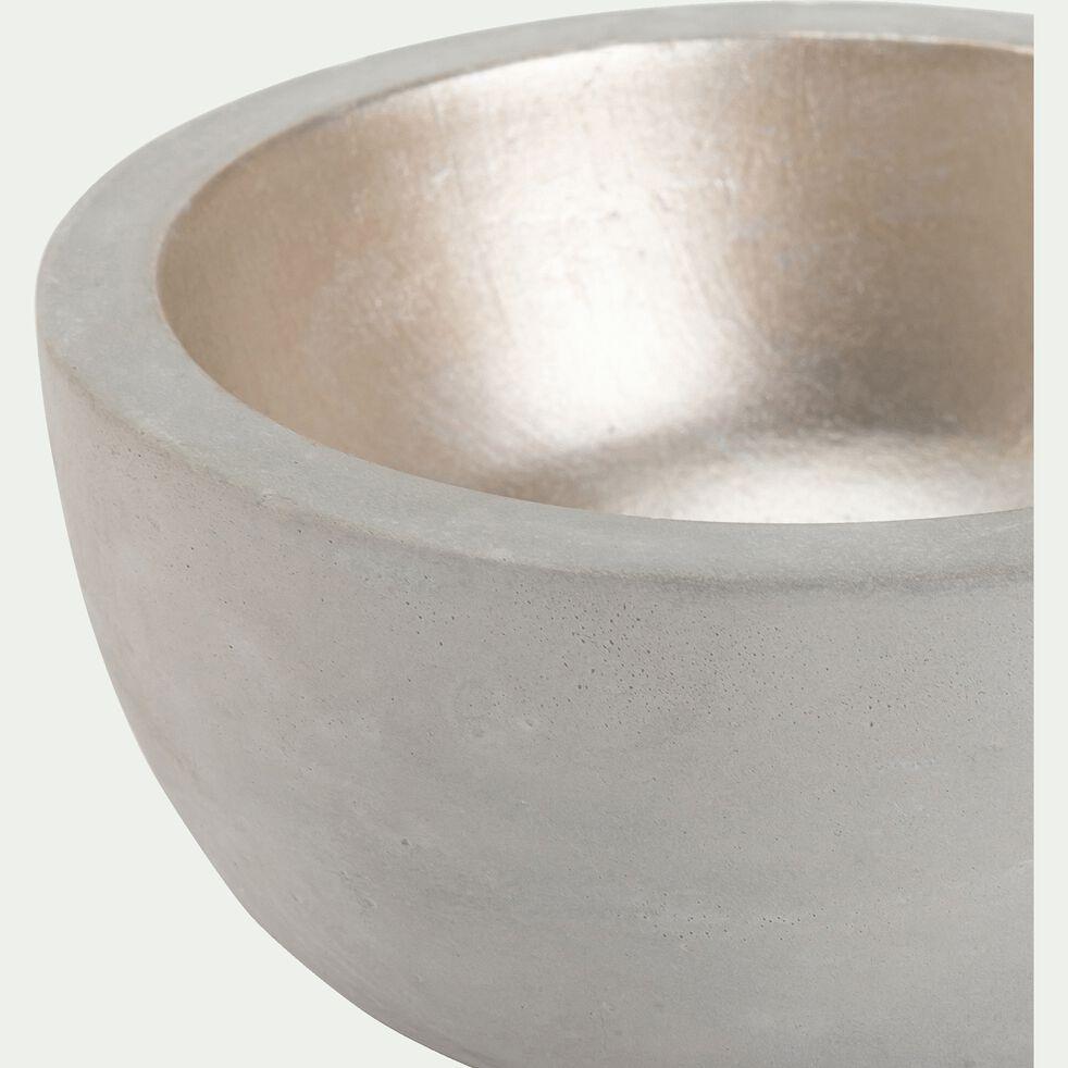 Bougeoir rond en ciment - gris et doré D12xH6cm-LOUISON