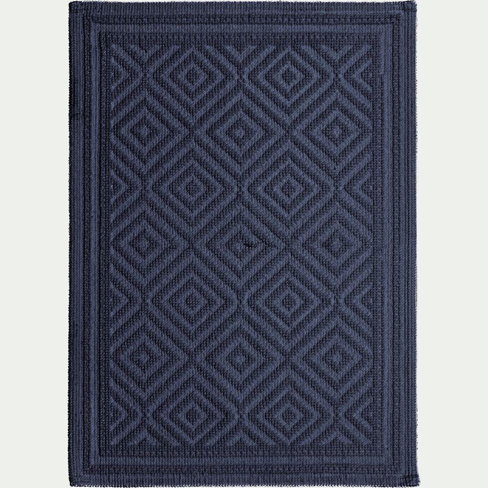 Tapis de bain en coton jacquard - bleu calabrun 50x70cm-Sadou