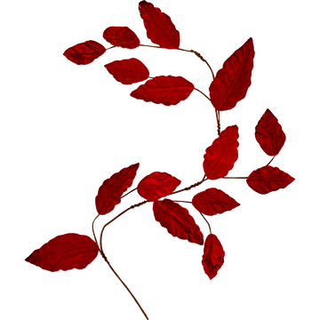 Guirlande de noël de feuilles en velours rouge L110cm-LEONATO