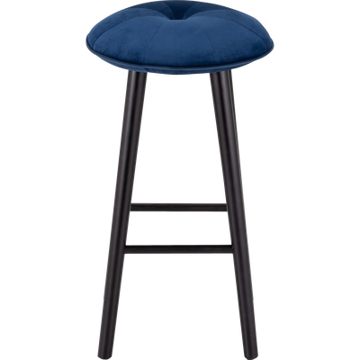 Tabouret de bar en velours bleu myrte - H75cm-AUGUSTIN