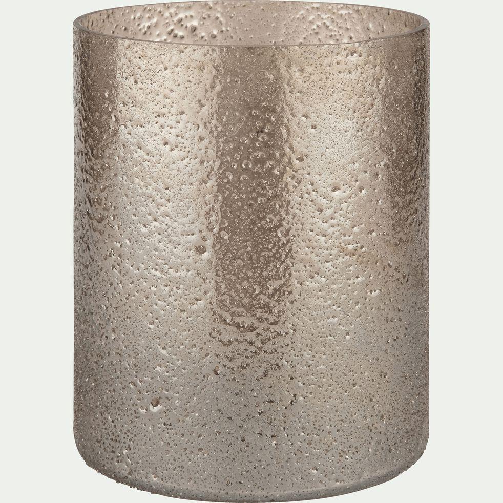 Photophore en verre marron D12xH14cm-PICHOTO