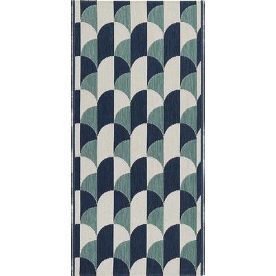 Tapis de cuisine bleu et blanc 67x140cm-CARO