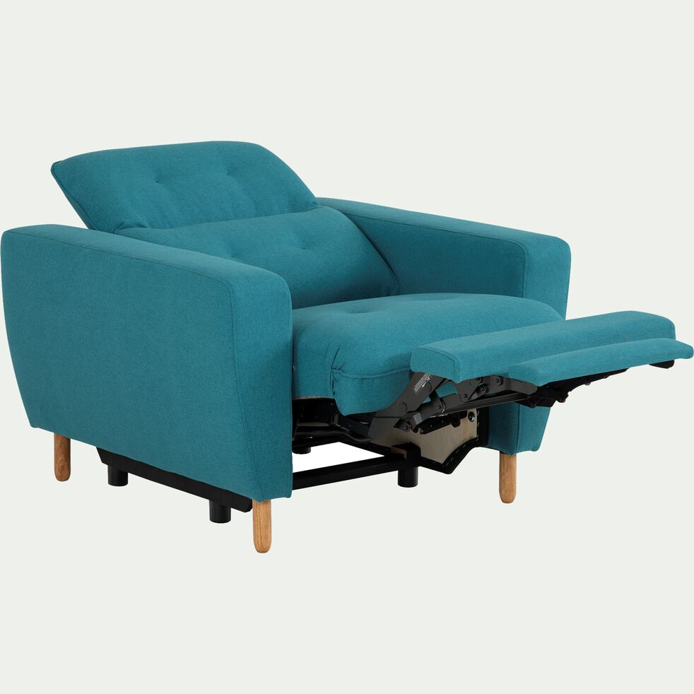 Fauteuil relax en tissu avec têtière réglable et repose pieds - bleu-ODYS