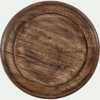 Assiette plate en bois de manguier D30,5cm - marron-CARCU