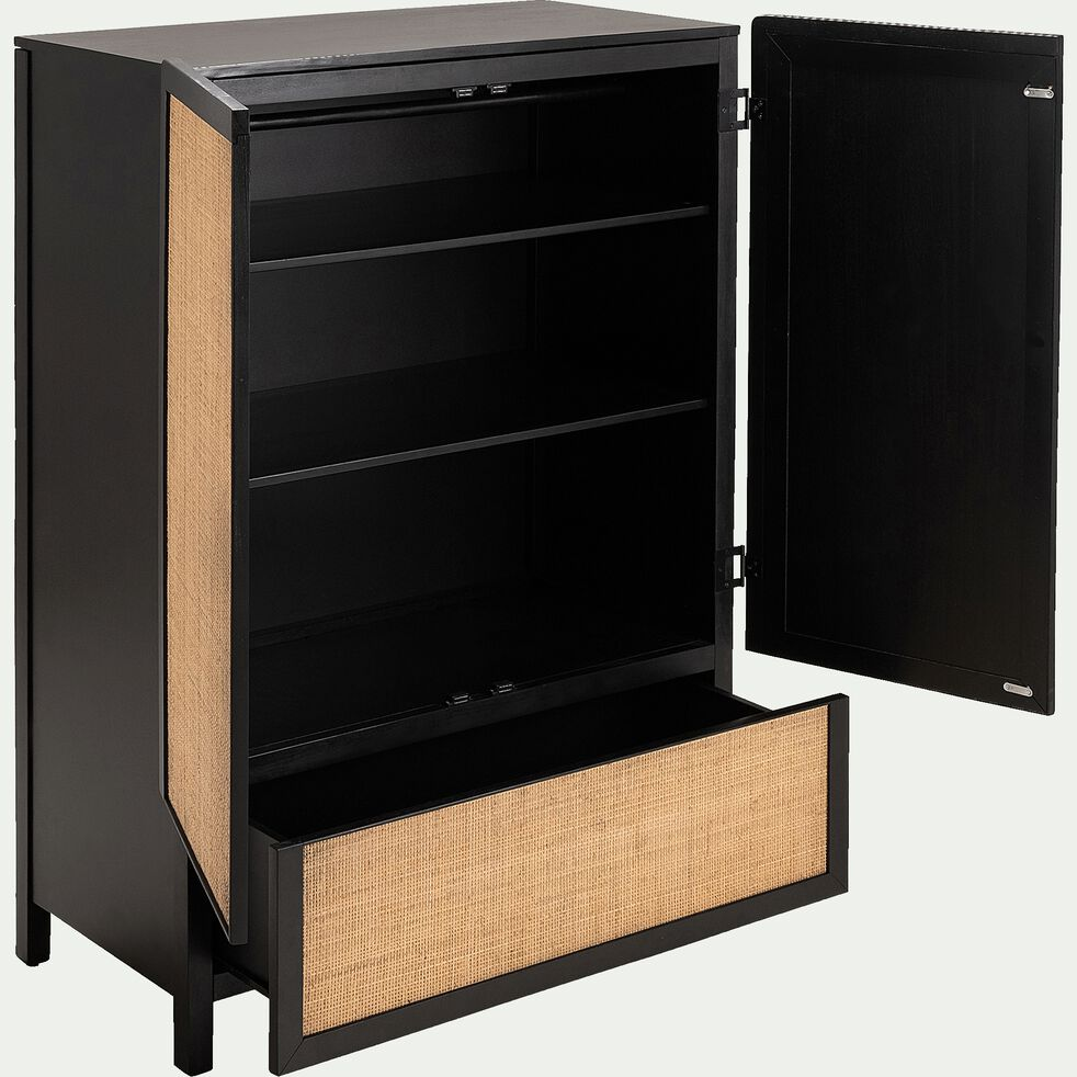 Armoire 2 portes et 1 tiroir noir et rotin-GALANT