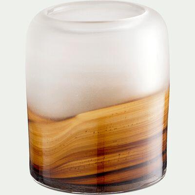Vase ambré en verre - orange D10xH11,5cm-BOJANA