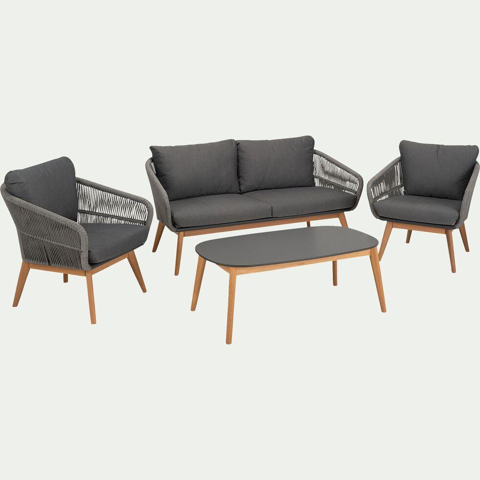 Salon de jardin en cordes et eucalyptus - gris (4 places)-PAMPELONNE