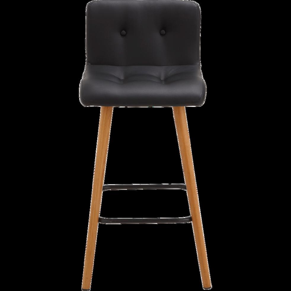Chaise de bar en simili noir - H66cm-FRIDA