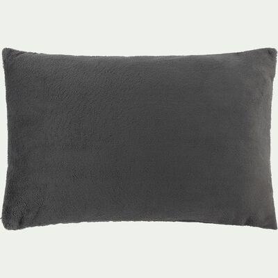 Housse de coussin effet polaire en polyester - gris ardoise 40x60cm-ROBIN