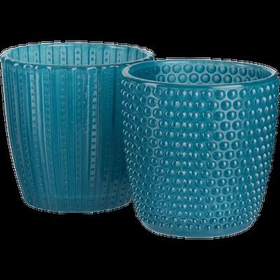 Lot de 2 photophores en verre Bleu H7,5 cm-PICCOLI