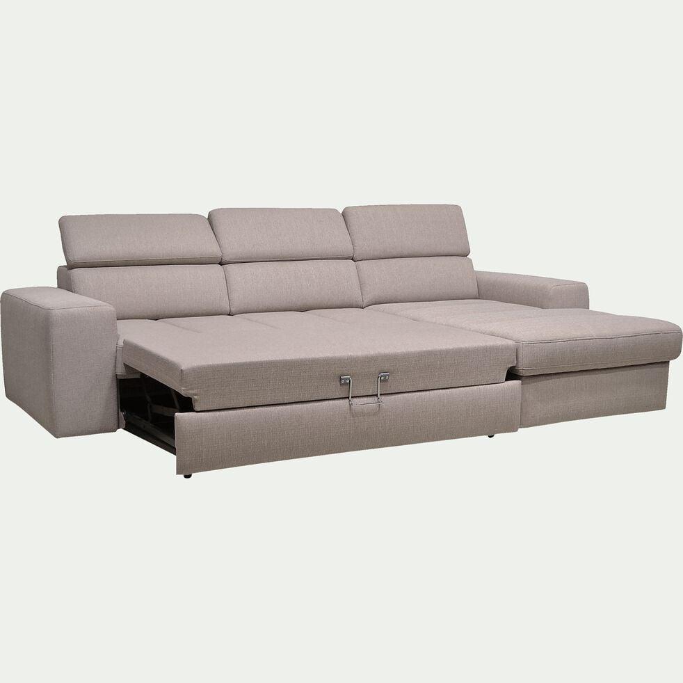 Canapé d'angle droit convertible en tissu - grège-TONIN