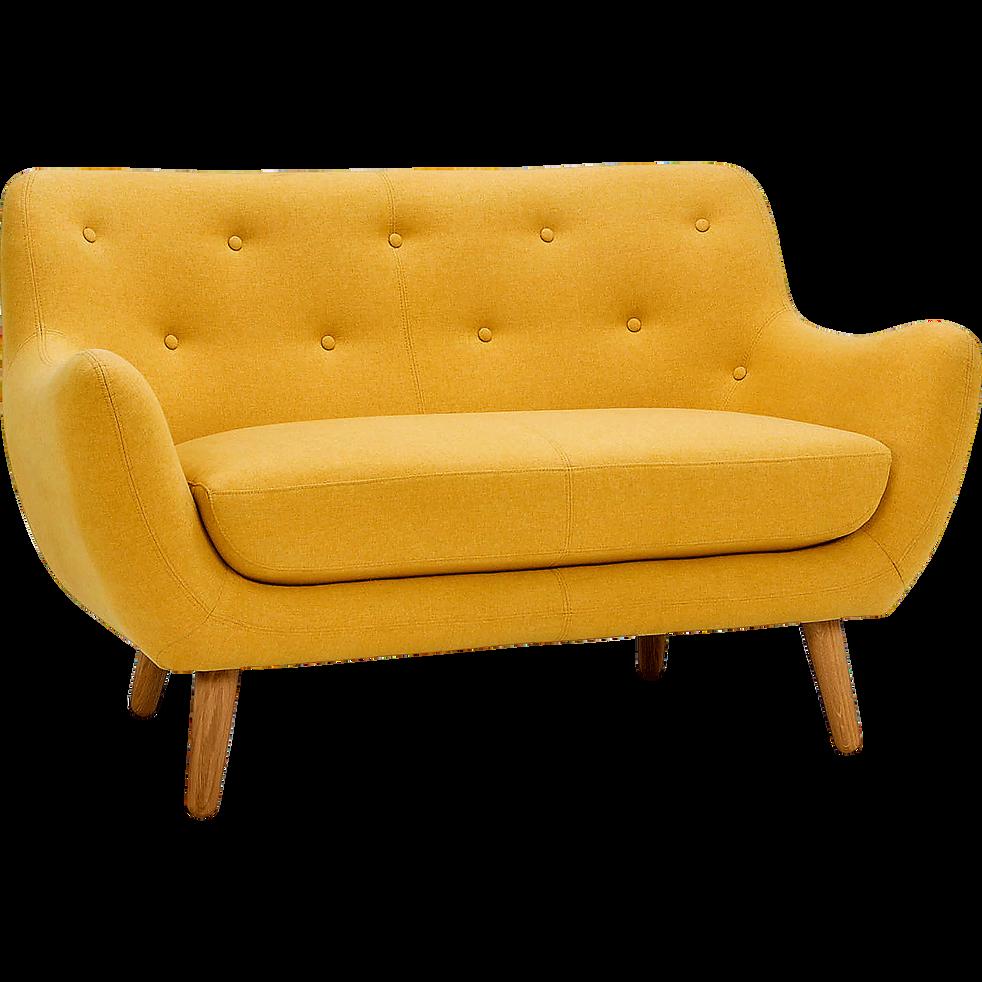 canap 2 places fixe jaune moutarde poppy canap s droits en tissu alinea. Black Bedroom Furniture Sets. Home Design Ideas