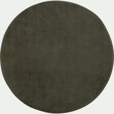 Tapis rond imitation fourrure - vert cèdre D70cm-ROBIN