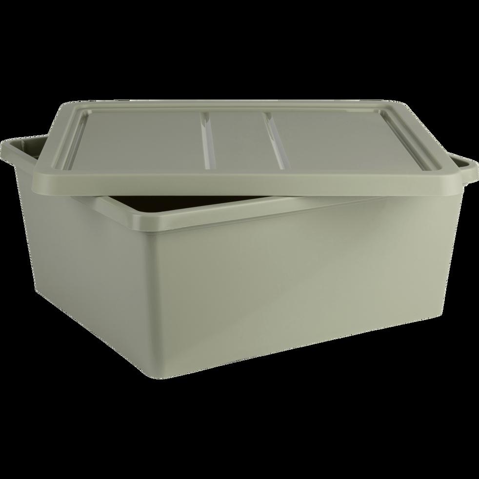 Boîte de rangement en plastique vert olivier H16,8xP34x40 cm-ANDATI