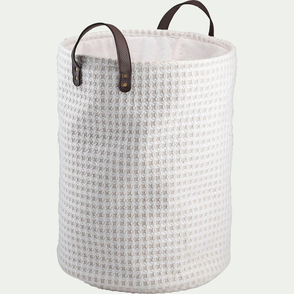 Panier à linge blanc D38x50cm-TANGUY