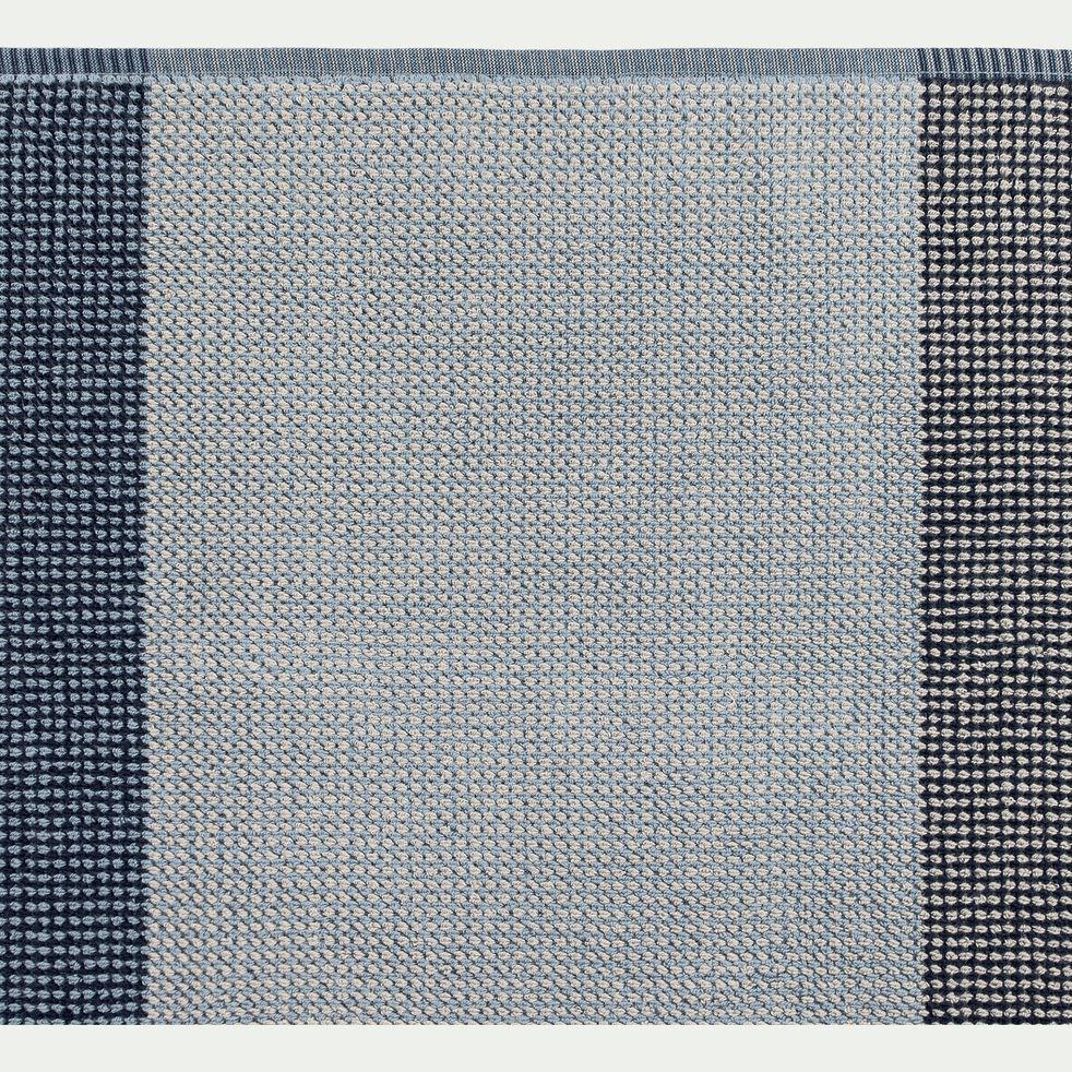 Drap de bain bouclette jacquard en coton - bleu 100x150cm-HUGO