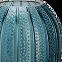 Vase en verre avec relief bleu niolon H20,5 cm-Dokoy