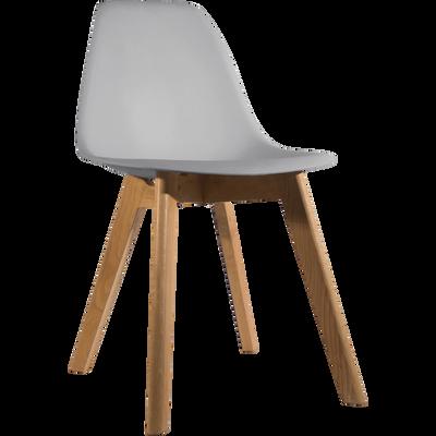 Chaise enfant assise plastique & pieds en hêtre - Gris-NORA