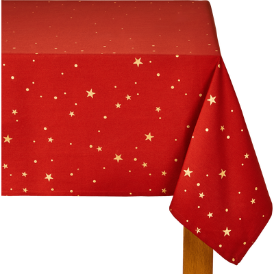 Nappe en coton rouge à motifs dorés 140x250cm-OPERA