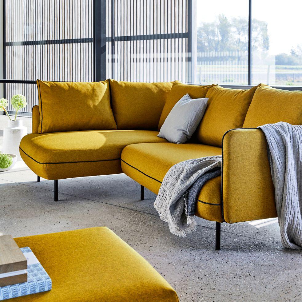 Canapé d'angle fixe gauche - jaune nèfle-SAOU