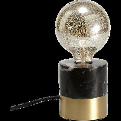 Lampe en métal et marbre noir D11xH12cm-VALA